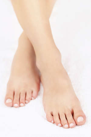 toenail: Soft female feet with pedicure close up