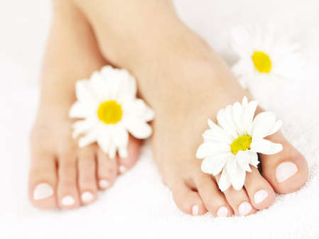 pedicure: Soft female feet with pedicure and flowers close up