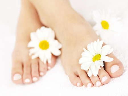 Zachte vrouwelijke voeten met pedicure en bloemen close-up Stockfoto