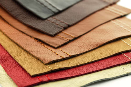 stitch: Natural leather upholstery samples with stitching in various colors