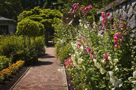 pave: Lush summer garden with paved path and blooming flowers Stock Photo