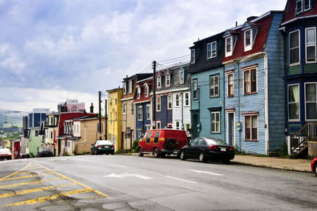 nfld: Street with colorful houses in St. Johns, Newfoundland, Canada Editorial