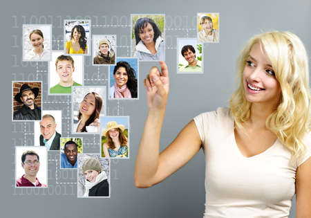 Young woman with social network of friends Stock Photo - 11106492