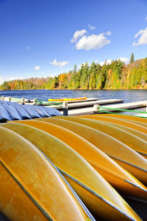 Canoes for rent on fall lake in Algonquin Park, Ontario, Canada Stock Photo - 11372129