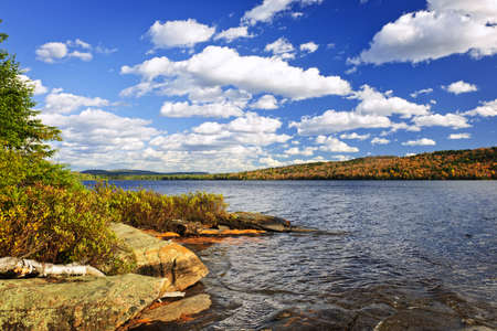 Autumn shore at Lake of Two Rivers, Ontario, Canada photo