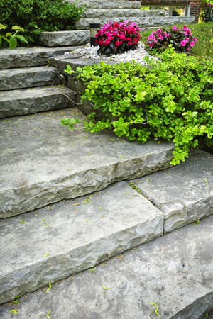 garden landscaping: Natural stone stairs landscaping in home garden