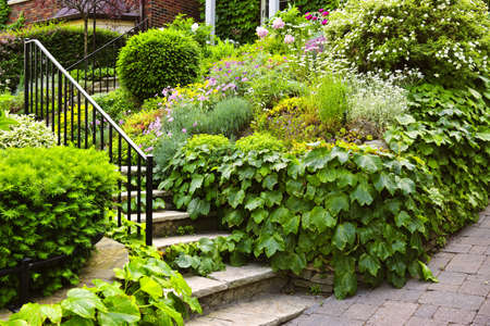 overgrown: Landscaped garden path with natural stone steps and metal railing