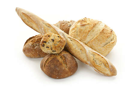 various: Assorted kinds of bread on white background Stock Photo