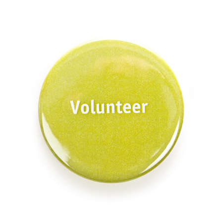 round: Green round volunteer button isolated on white