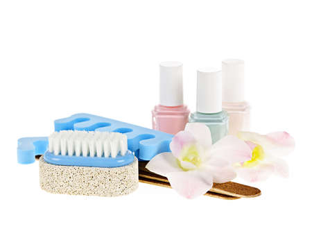 Pedicure accessories with nail polish on white background Stock Photo - 13306522