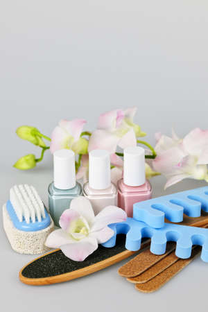 separators: Pedicure accessories and tools with nail polish