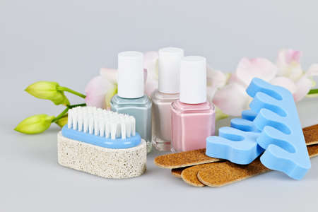 Pedicure accessories and tools with nail polish photo