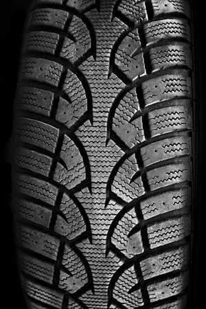 tire tread: Closeup on rubber tire tread of car wheel Stock Photo