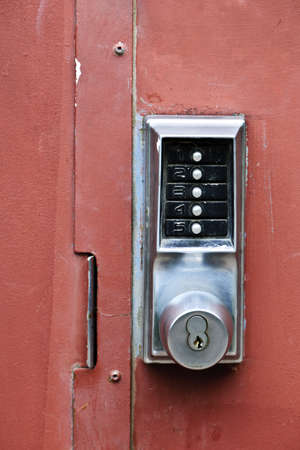 Metal door with push button security lock Stock Photo - 14384536