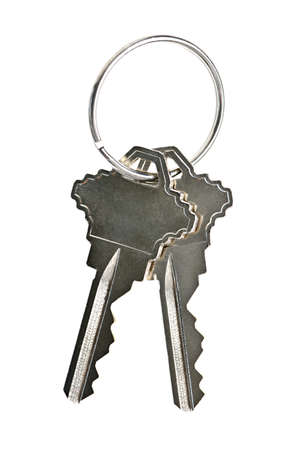 lock and key: Two house keys on keyring isolated over white background