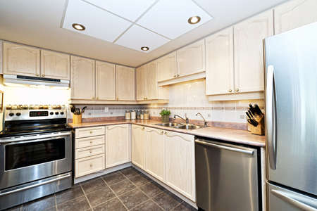 lavavajillas: Cocina de lujo moderna con electrodom�sticos de acero inoxidable