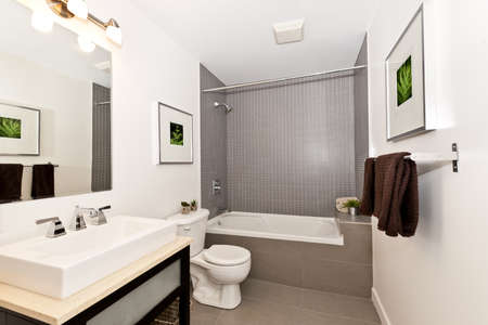 bathroom tiles: Interior three piece bathroom - artwork on walls are from photographer portfolio