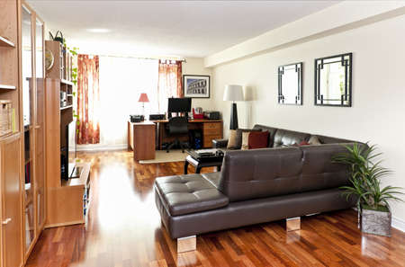 furnishings: Living room with hardwood floor - artwork is from photographer portfolio Stock Photo