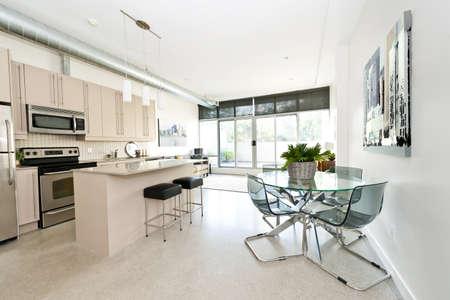 interni casa: Opera d'arte di portafoglio fotografo - cucina, sala da pranzo e soggiorno dell'appartamento