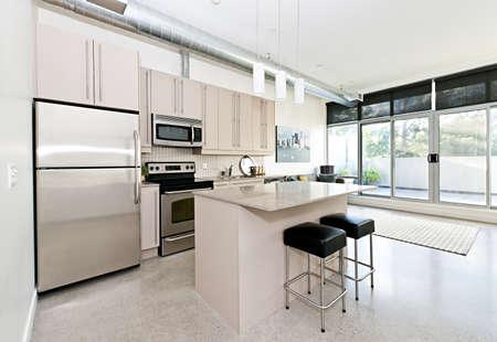 cucina moderna: Cucina e soggiorno di loft - opera d'arte di portfolio del fotografo Archivio Fotografico