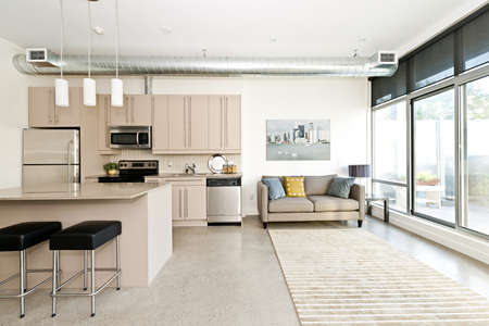 contemporary living room: Kitchen and living room of loft apartment - artwork from photographer portfolio