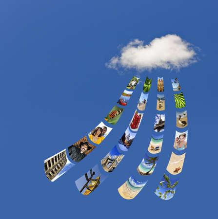 Concept de services de cloud computing pour stocker et partager ses photos - toutes les images de mon portefeuille Banque d'images