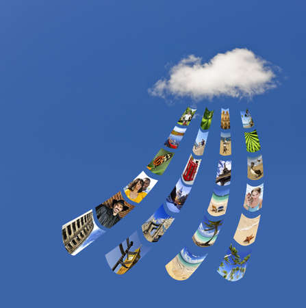 file sharing: Concept of cloud services for storing and sharing photos - all pictures from my portfolio Stock Photo