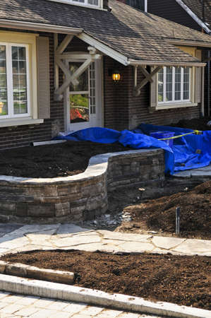Landscaping and paving work in progress at a front yard of a house Stock Photo - 15898462