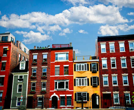 Row of brick houses in Boston historical North End