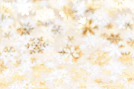 Golden abstract blurred Christmas background with snowflakes Stock Photo - 16419076