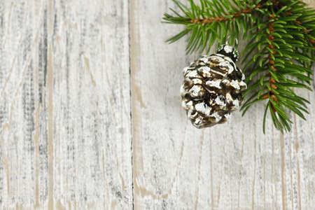 Golden Christmas pine cone on tree branch with wooden background Stock Photo - 16419109