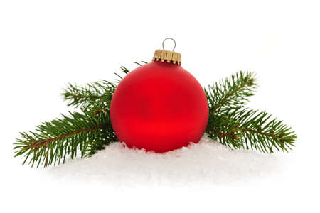 Red christmas ball with spruce tree branch isolated on white background Stock Photo - 16419077