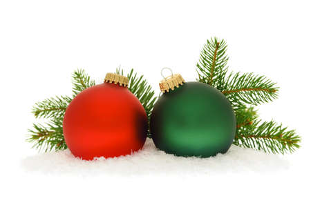 Red and green christmas balls with spruce tree branch isolated on white background Stock Photo - 16419053