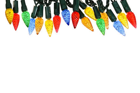Multicolored string of Christmas lights isolated on white background Stock Photo