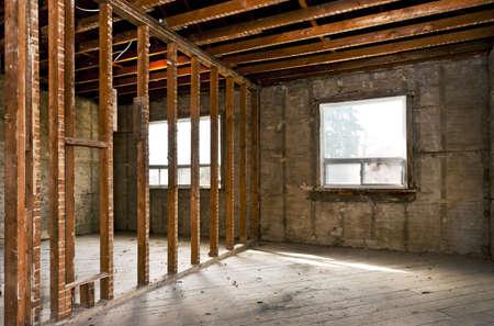 Interieur van een huis onder darm renovatie op bouwplaats