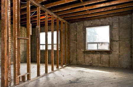 Interior of a house under gut renovation at construction site Stock Photo - 16639370