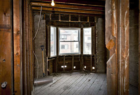 Interior of a house under gut renovation at construction site photo