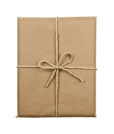 Gift package in brown paper wrapper tied with twine isolated on white background Stock Photo - 16784830