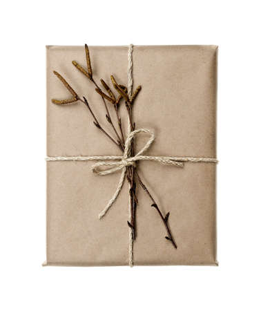Simple gift package in brown paper decorated with birth branches isolated on white background photo
