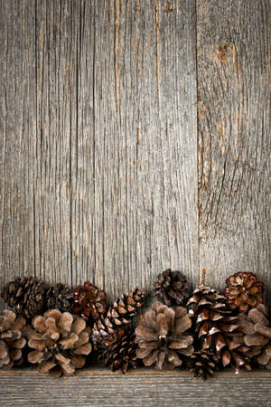 distressed wood: Rustic natural wooden background with pine cones