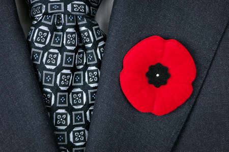 Red poppy lapel pin on suit jacket for Remembrance Day Stock Photo - 16784855