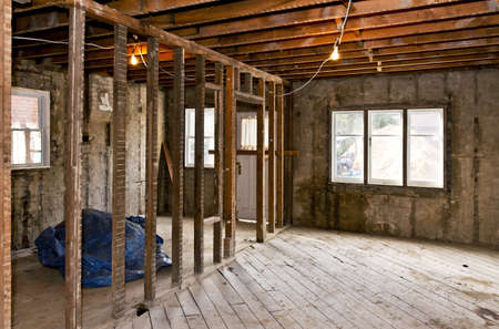 rafters: Interior of a house under gut renovation at construction site