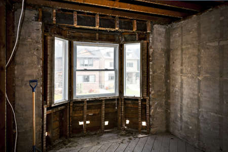 Interior of a house under gut renovation at construction site Stock Photo - 16755216