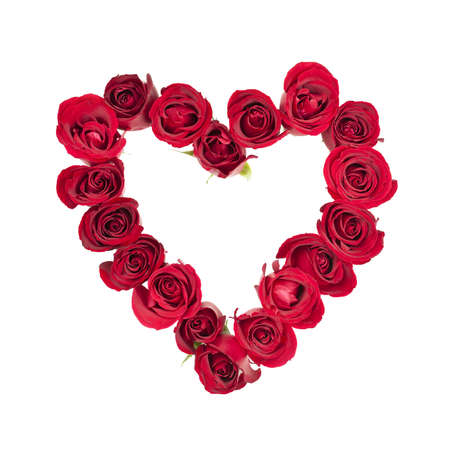 Heart made of fresh red roses on white background Stock Photo - 17570757