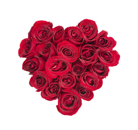 love shape: Heart made of fresh red roses on white background