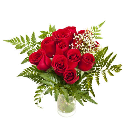 Bouquet of fresh red roses in a vase isolated on white background