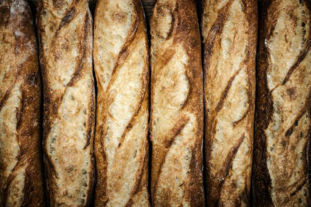 several breads: Fresh artisan baguette bread loaves in a row