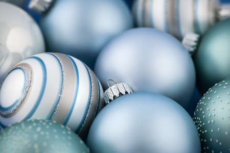 Close up of several blue Christmas glass baubles Stock Photo - 18066128
