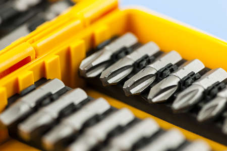 Closeup on screwdriver insert bits of various sizes Stock Photo - 18066120
