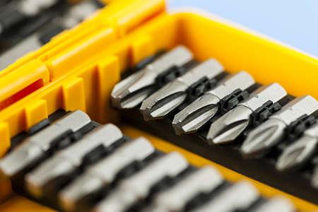 Closeup on screwdriver insert bits of vaus sizes Stock Photo - 18066120
